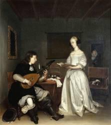 Le Duo : chanteuse et joueur de luth théorbé (Gérard Ter Borch) - Muzeo.com