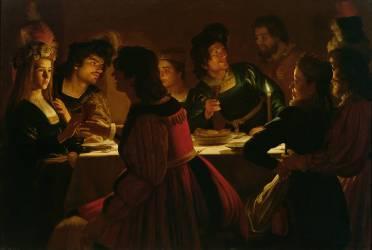 Le Repas de fiançailles (Gerrit Van Honthorst) - Muzeo.com