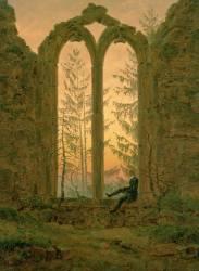 Le reveur ou les ruines d'Oybin en Allemange (Friedrich Caspar David) - Muzeo.com