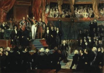 Le roi Louis-Philippe Ier prête serment de maintenir la Charte de 1830, le 9 août 1830 (esquisse) (Devéria Eugène) - Muzeo.com