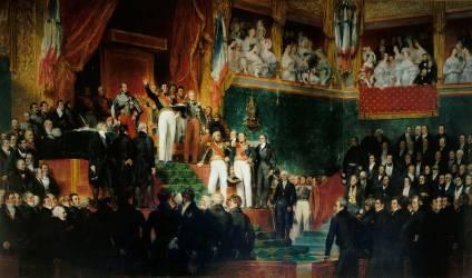 Le roi Louis-Philippe prête serment de maintenir la Charte de 1830 (Devéria Eugène) - Muzeo.com