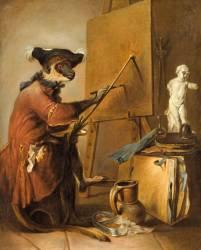 Le Singe peintre (Chardin Jean Baptiste Siméon) - Muzeo.com