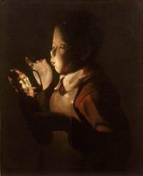 Le souffleur à la lampe (Georges de La Tour) - Muzeo.com