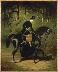 L'écuyère Kippler sur sa jument noire (Alfred Dedreux) - Muzeo.com