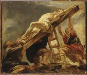 L'Elévation de la croix ; esquisse pour un compartiment du plafond de l'église des Jésuites d'Anvers (Rubens Pierre Paul) - Muzeo.com