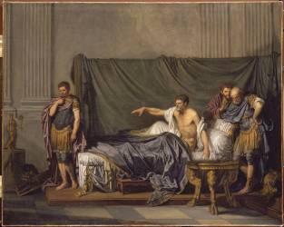 L'empereur Sévère reproche à Caracalla, son fils, d'avoir voulu l'assassiner (Jean-Baptiste Greuze ) - Muzeo.com