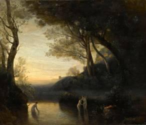 Les baigneuses de Bellinzona ; Effet du soir (Jean-Baptiste Camille Corot) - Muzeo.com