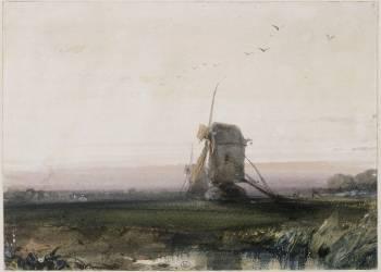 Les deux moulins en Normandie au soleil couchant (Richard Parkes Bonington) - Muzeo.com