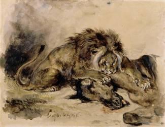 Lion dévorant un cheval (Eugène Delacroix) - Muzeo.com