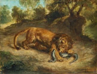 Lion et caïman (Eugène Delacroix) - Muzeo.com