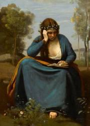 Liseuse couronnée de fleurs ou la muse de Virgile (Corot Camille) - Muzeo.com