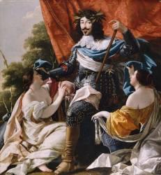 Louis XIII entre deux figures de femmes symbolisant La France et la Navarre (Simon Vouet) - Muzeo.com