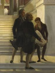 Napoléon Ier visitant l'escalier du Louvre sous la conduite des architectes Percier et Fontaine (Couder Louis Charles Auguste) - Muzeo.com