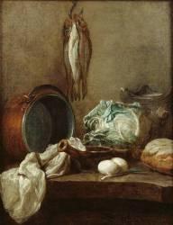 Nature morte avec chaudron fourneau de terre, poêlon, nappe, chou, pain, deux oeufs, poireau, et trois harengs suspendus à la muraille (Chardin Jean Siméon) - Muzeo.com