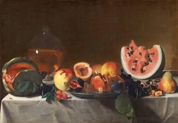Nature morte avec pastèques et carafe de vin blanc (Carlo Saraceni) - Muzeo.com