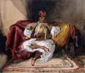 Oriental assis sur un divan tenant un narghilé (Delacroix Eugène) - Muzeo.com