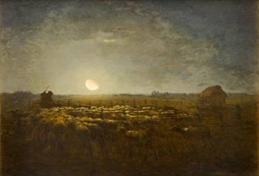 Parc à moutons, clair de lune (Jean-François Millet) - Muzeo.com