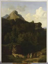 Paysage : les Adieux d'un proscrit à sa famille ou Montagne de la Sabine (Hippolyte Flandrin) - Muzeo.com