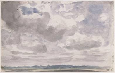 Paysage avec de gros nuages blancs et gris dans le ciel (Constable John) - Muzeo.com