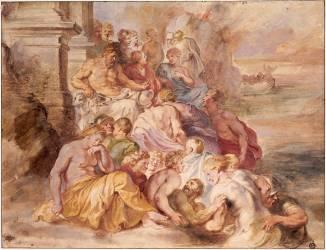 Pluton jugeant les âmes qui lui sont présentées par Mercure, d'après Primatice (Rubens Pierre Paul ,D'après...) - Muzeo.com