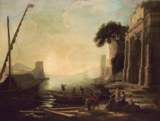 Port de mer au soleil levant (Claude Gellée) - Muzeo.com