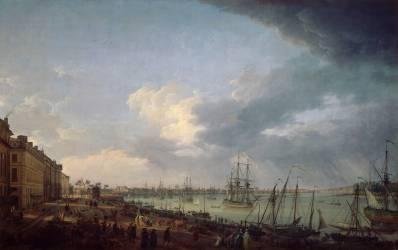 Première vue du port de Bordeaux, prise du côté des salinières (Joseph Vernet) - Muzeo.com