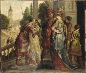 Réunions de dames et de cavaliers sur le perron d'un château (Claude Vignon) - Muzeo.com