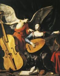Sainte Cécile et l'Ange (Carlo Saraceni) - Muzeo.com