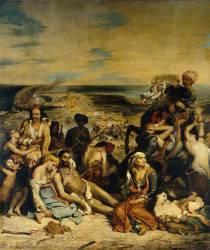 Scène des massacres de Scio : familles grecques attendant la mort ou l'esclavage (Delacroix Eugène) - Muzeo.com