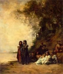 Souvenir d'Ezneh (Haute Egypte), dit aussi Femmes égyptiennnes au bord du Nil (Eugène Fromentin) - Muzeo.com