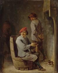 Tabagie ; fumeur au tonneau (Teniers David le Jeune) - Muzeo.com