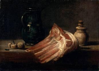 Table de cuisine et ustensiles avec carré de mouton (Chardin Jean Baptiste Siméon) - Muzeo.com