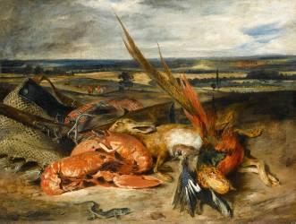 Tableau de nature morte dit Nature morte au homard (Delacroix Eugène) - Muzeo.com