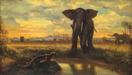 Tigre et Eléphant à la source dit le désert indien (Decamps Alexandre Gabriel) - Muzeo.com