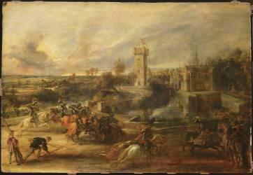Tournoi près des fossés du château du Steen (Pierre Paul Rubens) - Muzeo.com