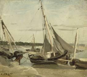 Trouville, bateaux de pêche échoués dans le chenal (Barques à voiles échouées à Trouville) (Corot Jean-Baptiste Camille) - Muzeo.com