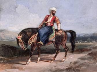 Turc à cheval dans la campagne (Delacroix Eugène) - Muzeo.com