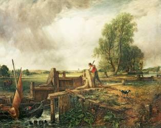 Un Bateau traversant une écluse (John Constable) - Muzeo.com
