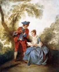Un couple jouant de la Musique dans un Paysage (Nicolas Lancret) - Muzeo.com