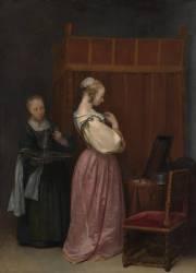 Une Jeune femme à sa toilette accompagnée d'une servante (Gérard Ter Borch) - Muzeo.com