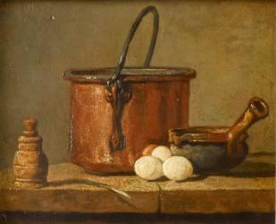 Ustensiles de cuisine, chaudron, poêlon et oeufs (Chardin Jean Siméon) - Muzeo.com