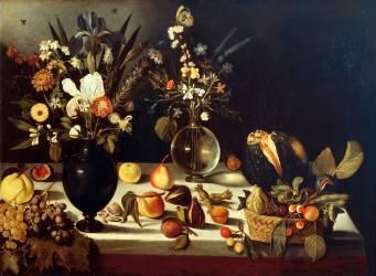 Vase de fleurs et fruits sur une table (Maître de Hartford) - Muzeo.com