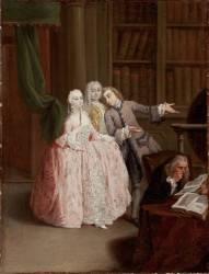 Visite à la librairie (Pietro Longhi) - Muzeo.com