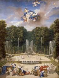 Vue de la partie supérieure du bosquet du théâtre d'eau dans les jardins de Versailles (Jean Cotelle le Jeune) - Muzeo.com