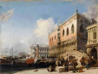 Vue de Venise, le quai des esclavons et le palais des Doges (Richard Parkes Bonington) - Muzeo.com