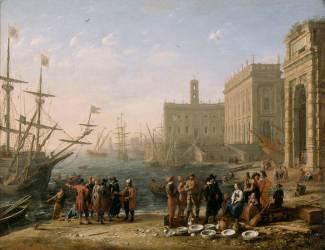 Vue d'un port avec le Capitole (Claude Gellée) - Muzeo.com
