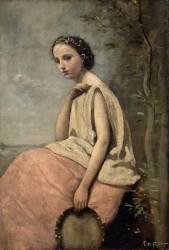 Zingara au tambour de basque (Jean-Baptiste Camille Corot) - Muzeo.com