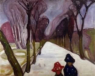 Allée dans un Tourbillon de Neige (Edvard Munch) - Muzeo.com