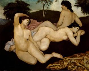 Après le bain, trois nymphes (Bernard Emile) - Muzeo.com