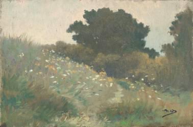 Arbres sur la dune, Carolles (Alphonse Osbert) - Muzeo.com